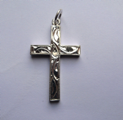 Sterling silver engraved flat cross pendant